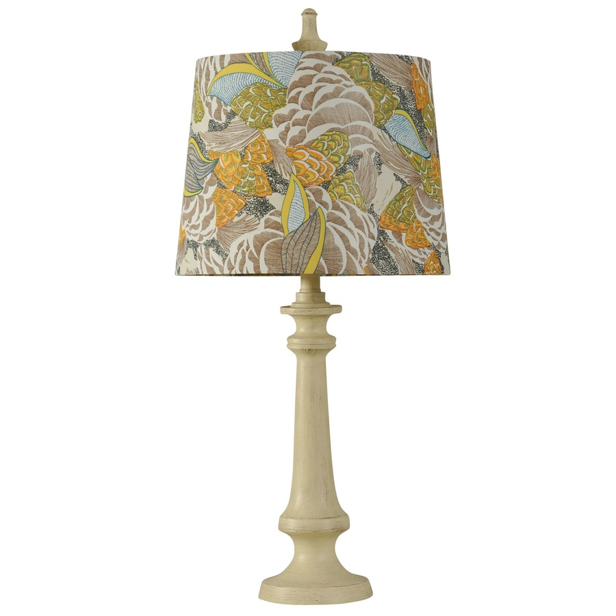 StyleCraft Home Collection 29-in Taos White Standard 3-Way Switch Table Lamp with Fabric Shade