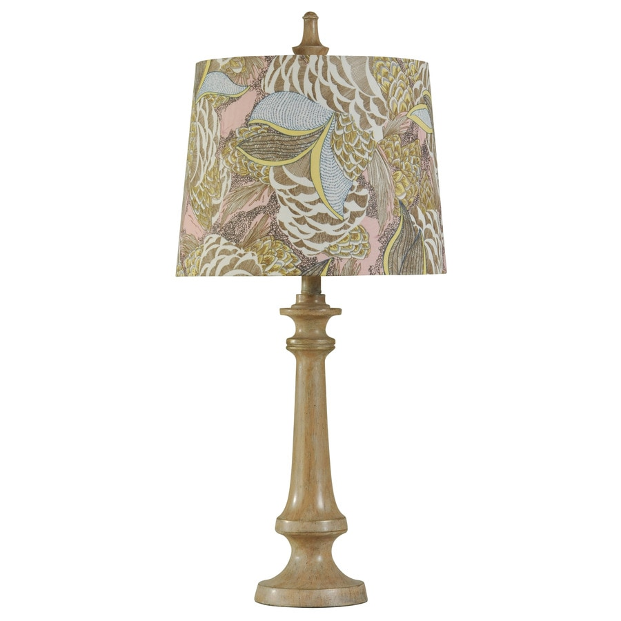 StyleCraft Home Collection 29-in 3-Way Vintage Blush Indoor Table Lamp with Fabric Shade