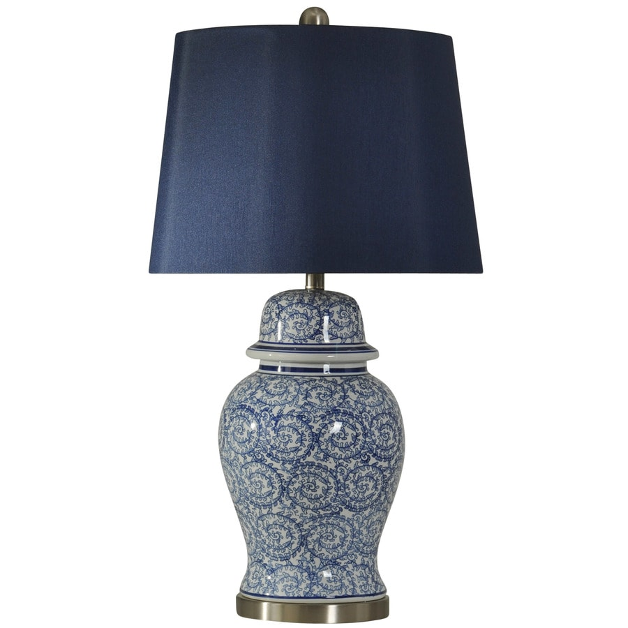 StyleCraft Home Collection 31-in 3-Way Blue Ivy Indoor Table Lamp with Fabric Shade