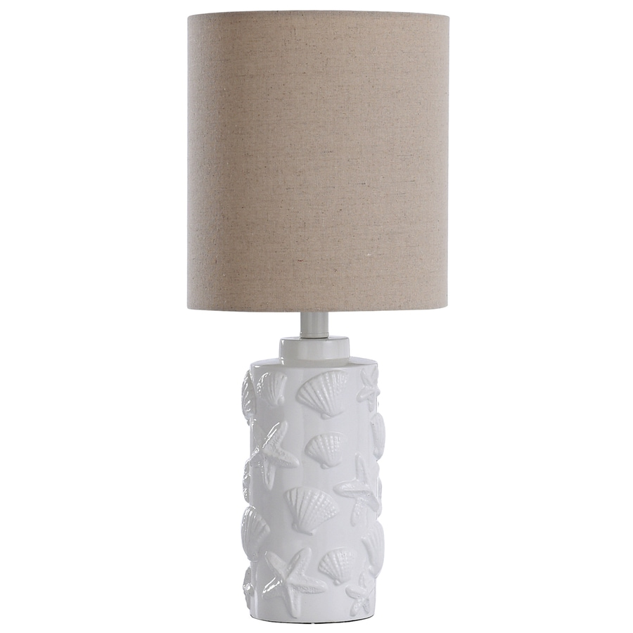 StyleCraft Home Collection 21-in White Standard 3-Way Switch Table Lamp with Fabric Shade