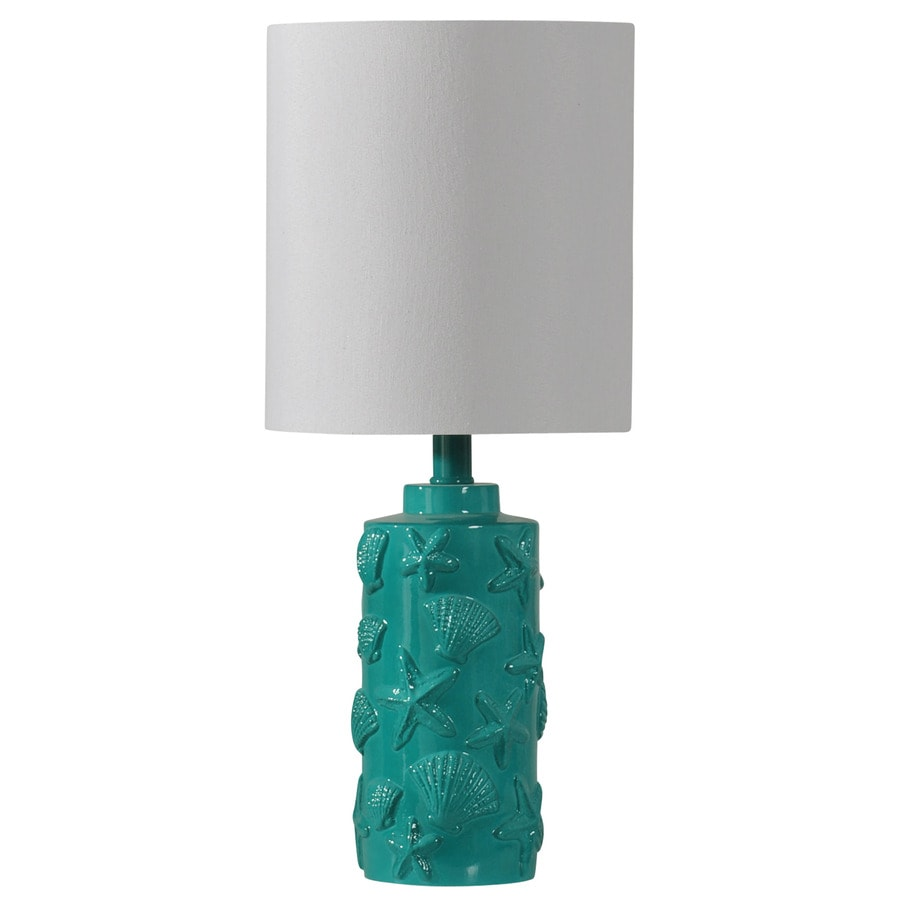 StyleCraft Home Collection 21-in Teal Standard 3-Way Switch Table Lamp with Fabric Shade