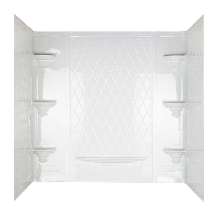 Aqua Glass Vero 60-in W x 32-in D x 58-in H High Gloss White Polystyrene Bathtub Wall Surround