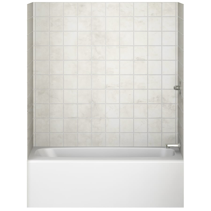 Aqua Glass Tilekit 60-in W x 30-in D x 60-in H High Gloss Pearl White Polystyrene Bathtub Wall Surround
