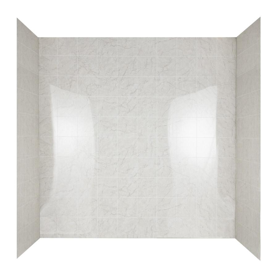 Aqua Glass Tilekit 60-in W x 30-in D x 60-in H High Gloss Beige Marble Polystyrene Bathtub Wall Surround