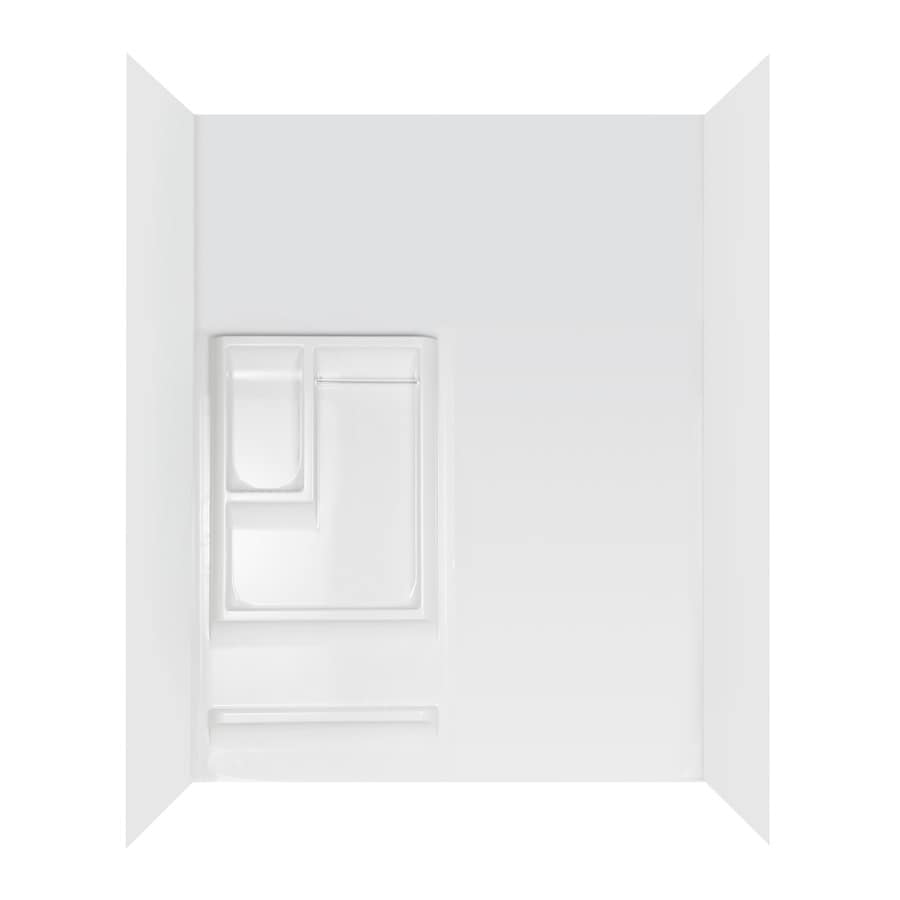 Aqua Glass Tall Reversible 60-in W x 30-in D x 82-1/2-in H High Gloss White Polystyrene Bathtub Wall Surround