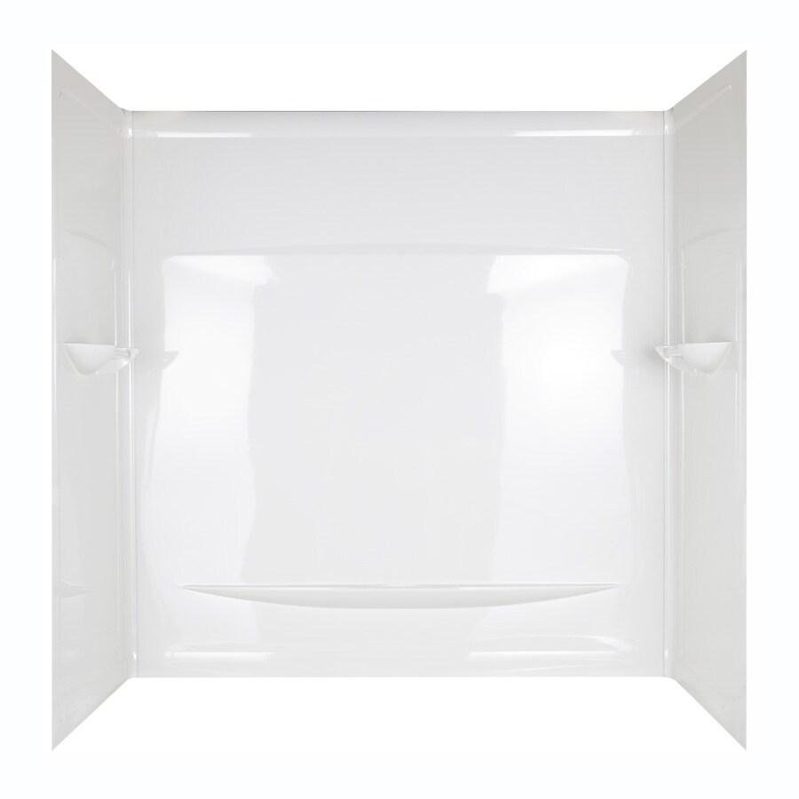 Aqua Glass Interlocking Seam 59-in W x 29-1/2-in D x 60-in H High Gloss White Polystyrene Bathtub Wall Surround