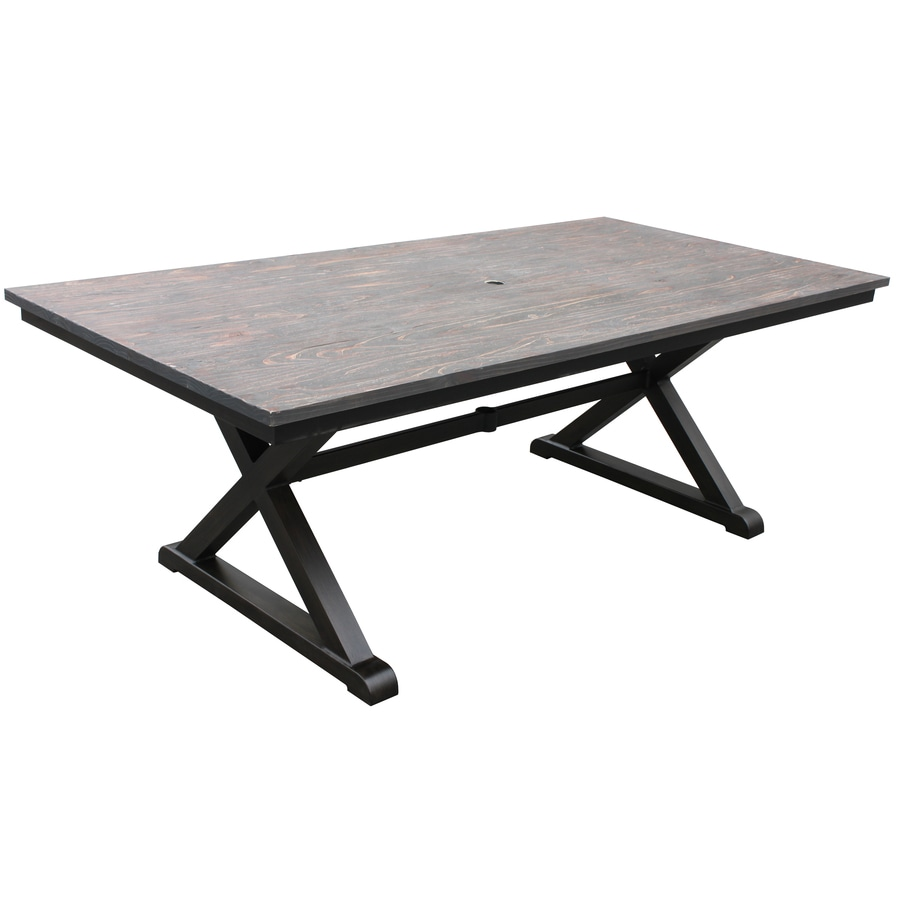 shop allen roth woodcroft 80 in x 40 in aluminum rectangle patio dining table at. Black Bedroom Furniture Sets. Home Design Ideas