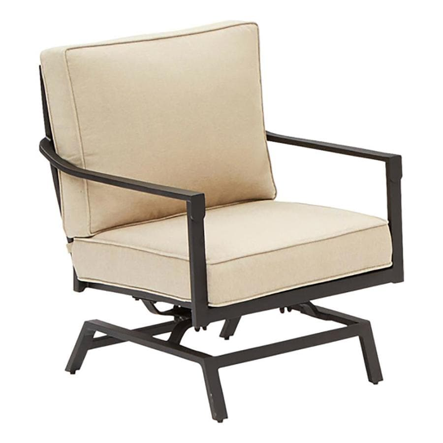 Allen + Roth Northvale Set Of 2 Aluminum Conversation Chairs With Beige  Cushions