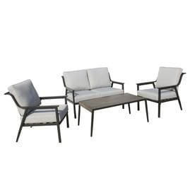 Bon Foremost Lemoore 4 Piece Steel Frame Patio Conversation Set With Cushions