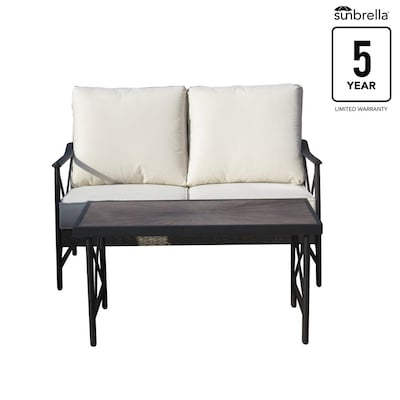 Rothenbee Wicker Outdoor Loveseat with Cushion and Aluminum Frame