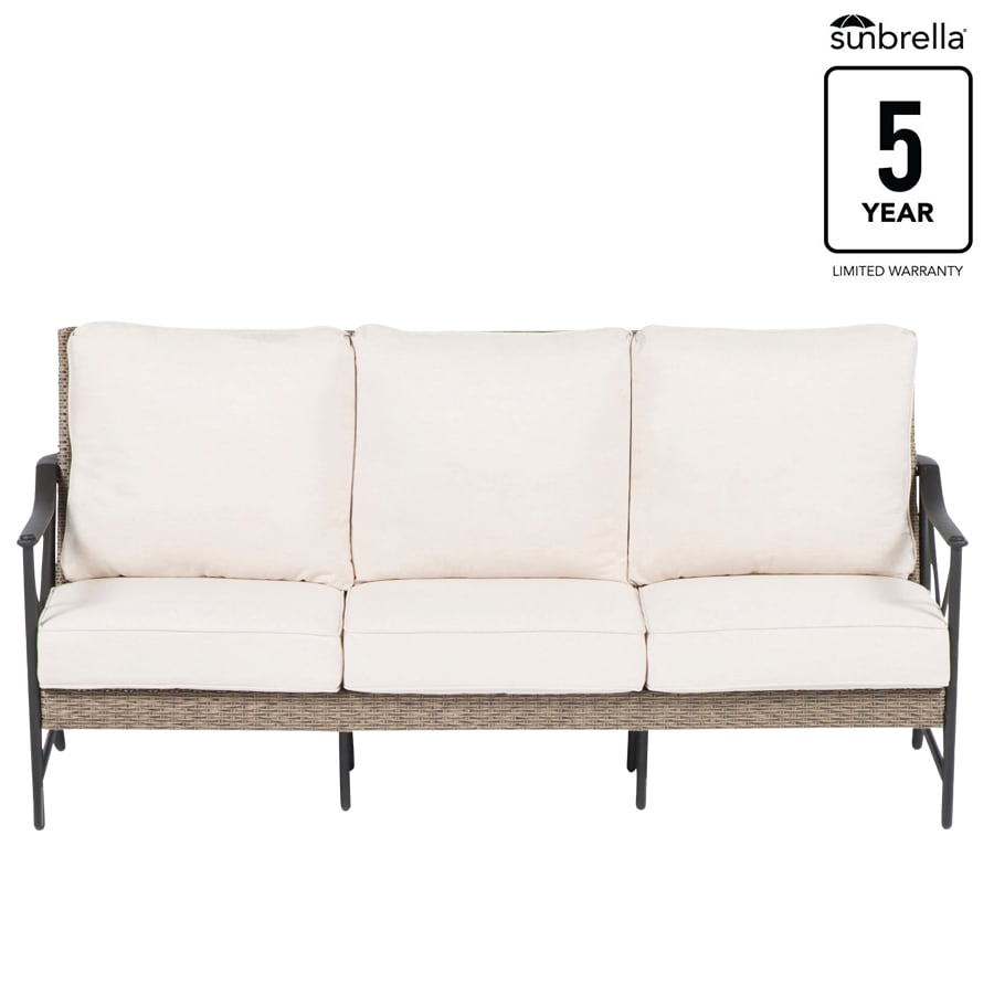 Allen + roth Rothenbee Wicker Outdoor Sofa with Cushion and Aluminum ...