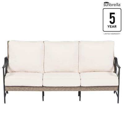 Rothenbee Wicker Outdoor Sofa with Cushion and Aluminum Frame