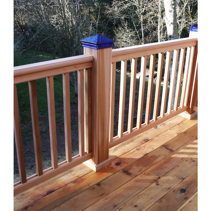 InstaRail Natural Redwood Wood Deck with Balusters at ...