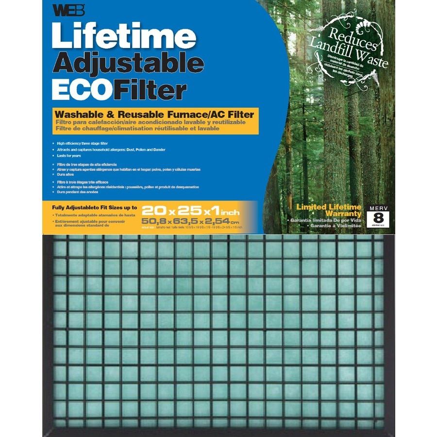 WEB (Common: 25-in x 20-in x 1-in; Actual: 24.625-in x 19.625-in x 0.875-in) Washable Adjustable Air Filter