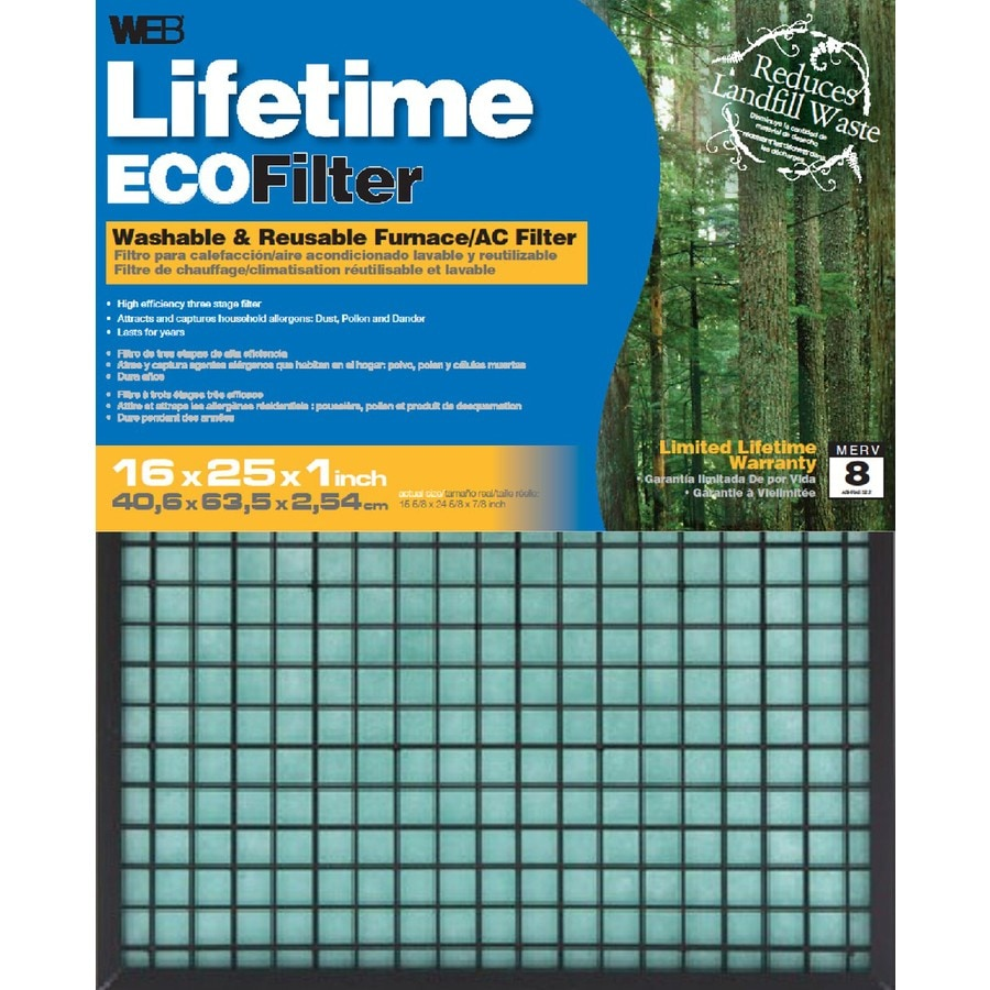 WEB (Common: 25-in x 16-in x 1-in; Actual: 24.625-in x 15.625-in x 0.875-in) Washable Electrostatic Air Filter