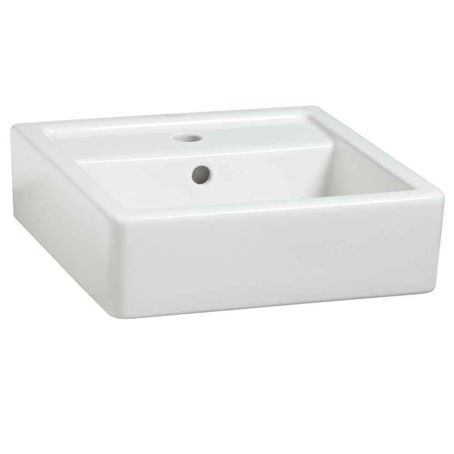 Porcher Porcher Solutions White Fire Clay Wall Mount Square Bathroom Sink  With Overflow
