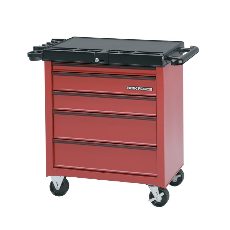Task Force 32-in x 34-in 5-Drawer Friction Steel Tool Cabinet (Red)