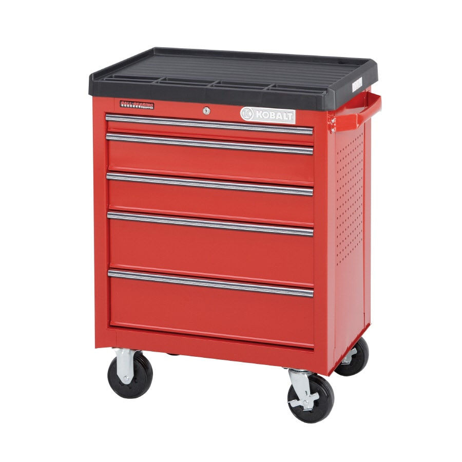 Kobalt 36.6-in x 28.1-in 5-Drawer Ball-Bearing Steel Tool Cabinet (Red)