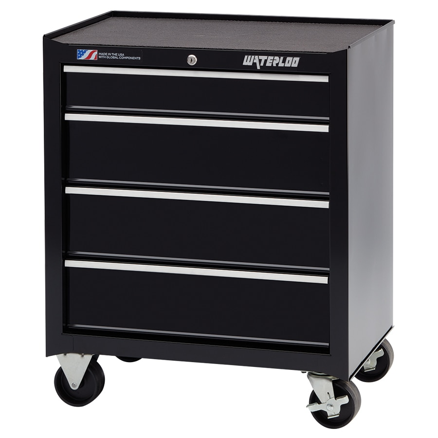 Waterloo 32.5-in x 26.5-in 4-Drawer Ball-Bearing Steel Tool Cabinet (Black)