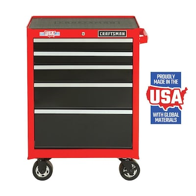 CRAFTSMAN 2000 Series 26.5-in W x 37.5-in H 5-Drawer Steel Rolling Tool Cabinet (Red)