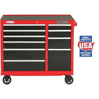CRAFTSMAN 2000 Series 41-in W x 37.5-in H 10-Drawer Steel Rolling Tool Cabinet (Red)