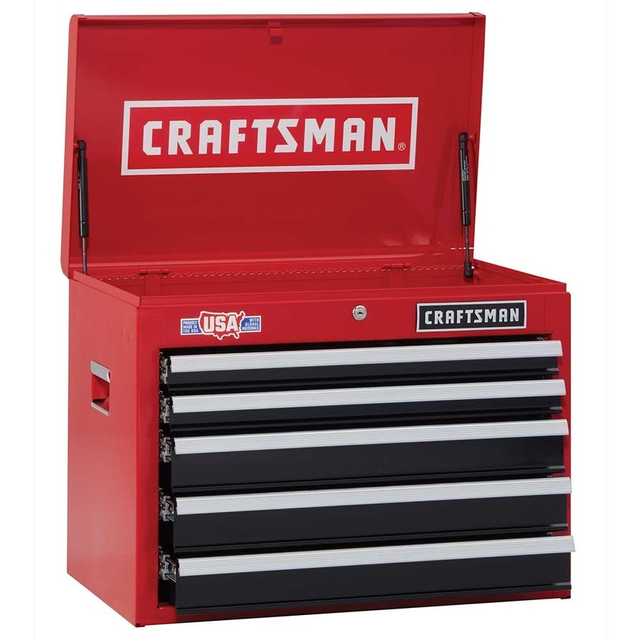 shop craftsman 2000 series 26 in w x h 5 drawer steel tool chest red at. Black Bedroom Furniture Sets. Home Design Ideas