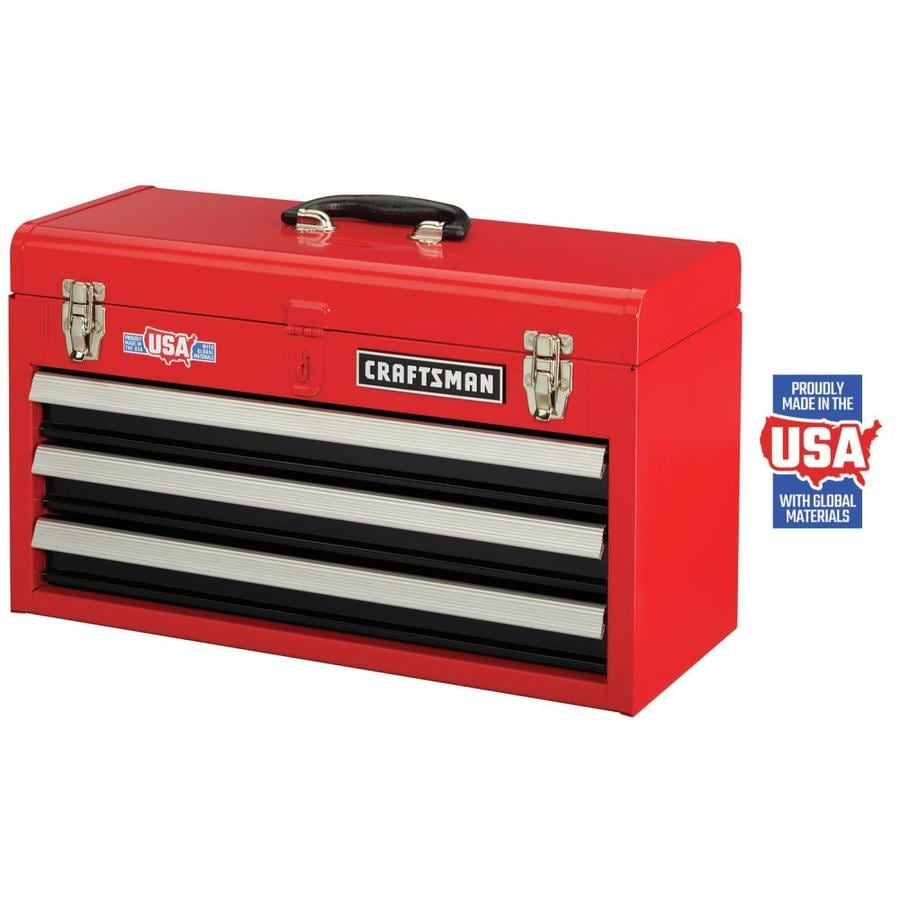 Craftsman Portable Tool Box 20 5 In 3 Drawer Red Steel