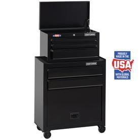 CRAFTSMAN 1000 Series 26-in W x 44-in H 5-Drawer Ball-Bearing Steel Tool Chest Combo (Black)