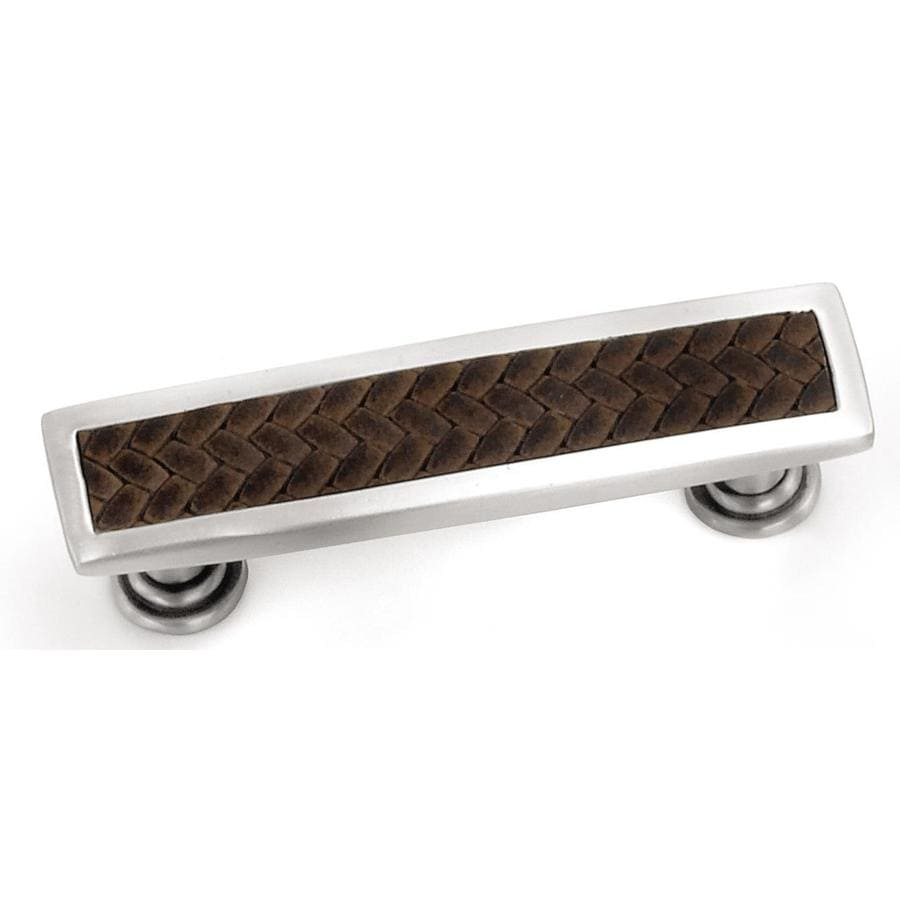 Laurey 96mm Center-to-Center Satin Nickel/Saddle Brown Churchill Rectangular Cabinet Pull