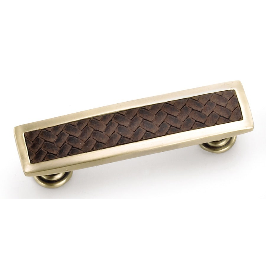 Laurey 96mm Center-to-Center Satin Brass/Brown Churchill Rectangular Cabinet Pull