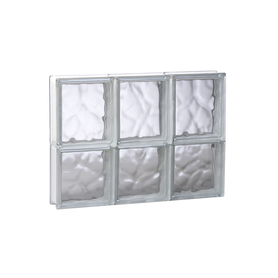 REDI2SET Wavy Glass Pattern Frameless Replacement Glass Block Window (Rough Opening: 17.75-in x 14-in; Actual: 17.25-in x 13.5-in)