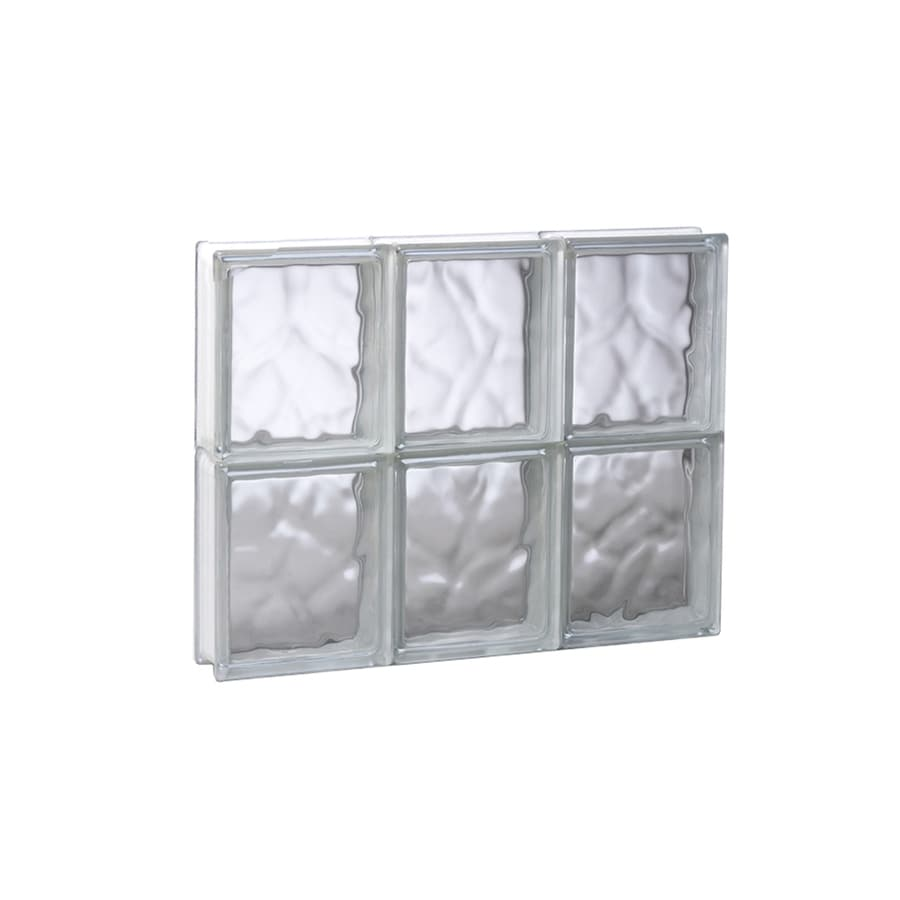 REDI2SET Wavy Glass Pattern Frameless Replacement Glass Block Window (Rough Opening: 17.75-in x 16-in; Actual: 17.25-in x 15.5-in)
