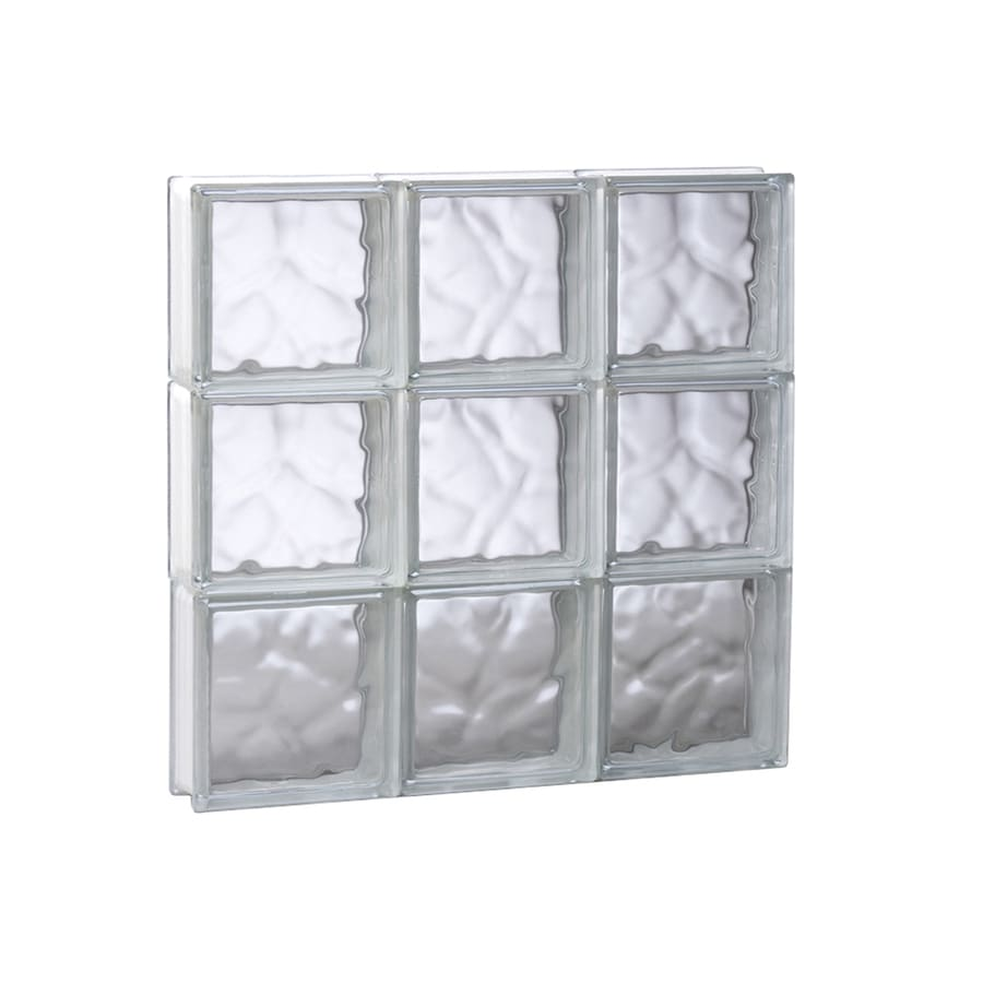 REDI2SET Wavy Pattern Frameless Replacement Glass Block Window (Rough Opening: 17.75-in x 17.75-in; Actual: 17.25-in x 17.25-in)