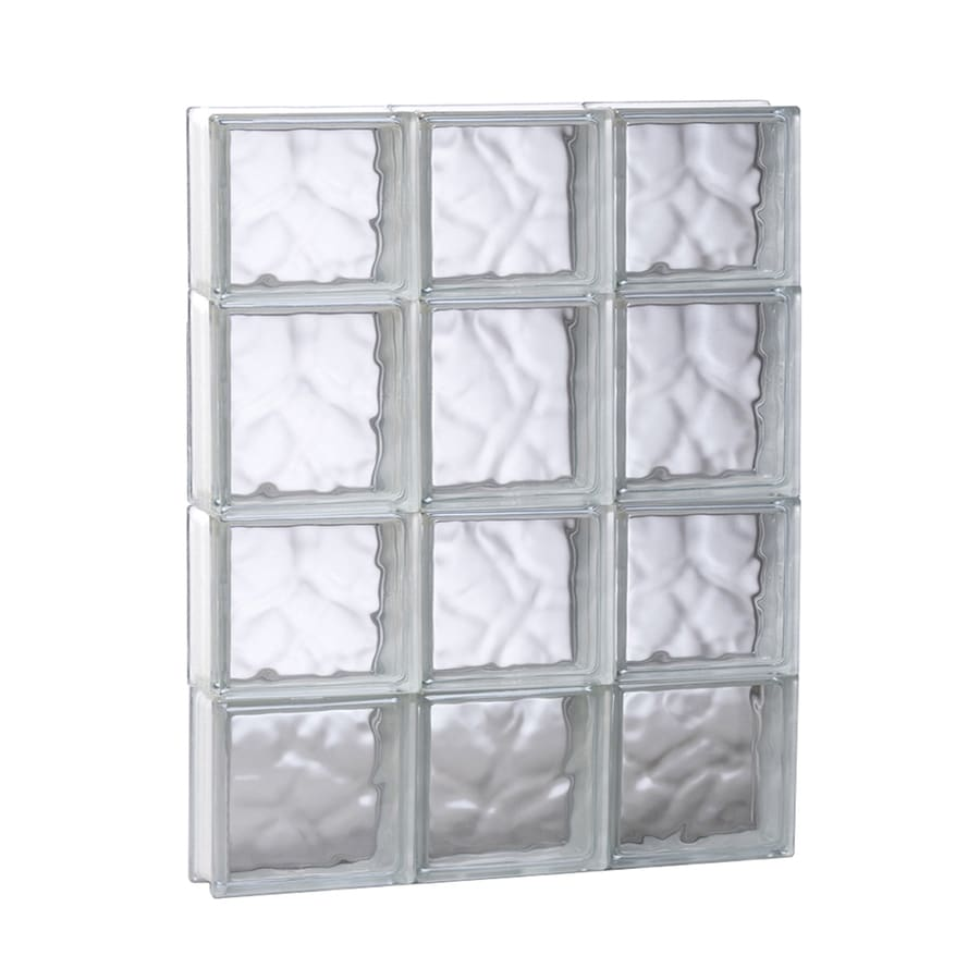 REDI2SET Wavy Glass Pattern Frameless Replacement Glass Block Window (Rough Opening: 17.75-in x 25.5-in; Actual: 17.25-in x 25-in)