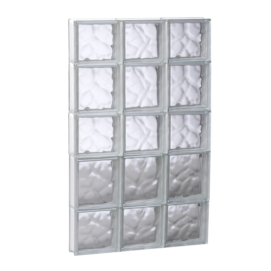 REDI2SET Wavy Glass Pattern Frameless Replacement Glass Block Window (Rough Opening: 17.7500-in x 33.2500-in; Actual: 17.2500-in x 32.7500-in)