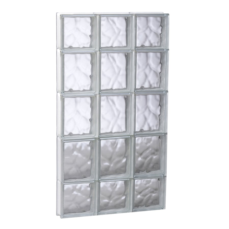 REDI2SET Wavy Glass Pattern Frameless Replacement Glass Block Window (Rough Opening: 17.75-in x 35.25-in; Actual: 17.25-in x 34.75-in)