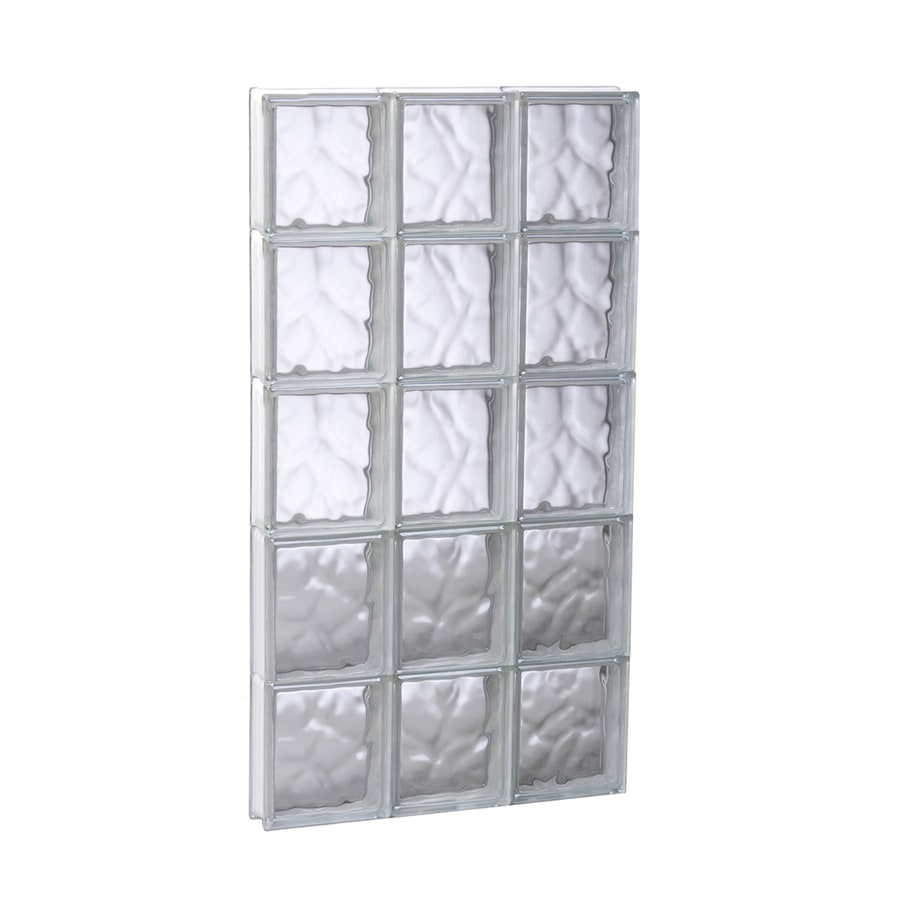 REDI2SET Wavy Pattern Frameless Replacement Glass Block Window (Rough Opening: 17.75-in x 39.25-in; Actual: 17.25-in x 38.75-in)