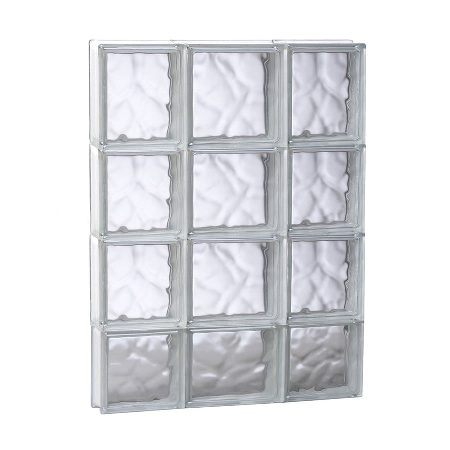 REDI2SET Wavy Pattern Frameless Replacement Glass Block Window (Rough Opening: 19.75-in x 29.5-in; Actual: 19.25-in x 29-in)