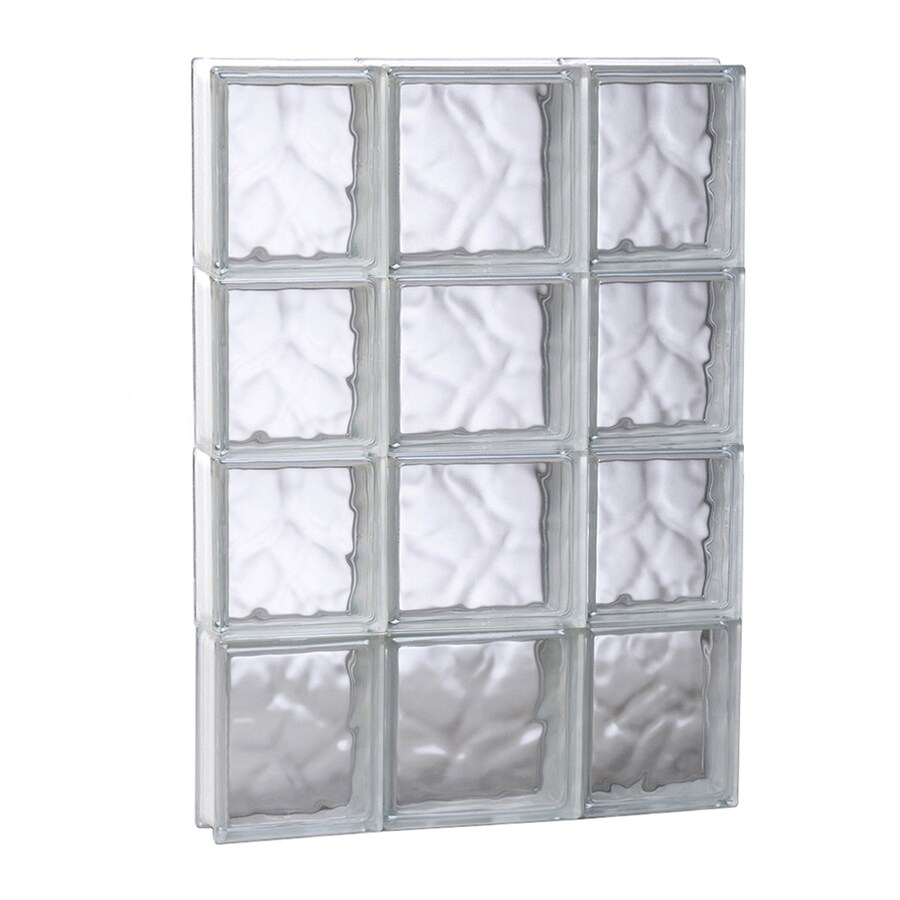 REDI2SET Wavy Glass Pattern Frameless Replacement Glass Block Window (Rough Opening: 19.75-in x 31.5-in; Actual: 19.25-in x 31-in)