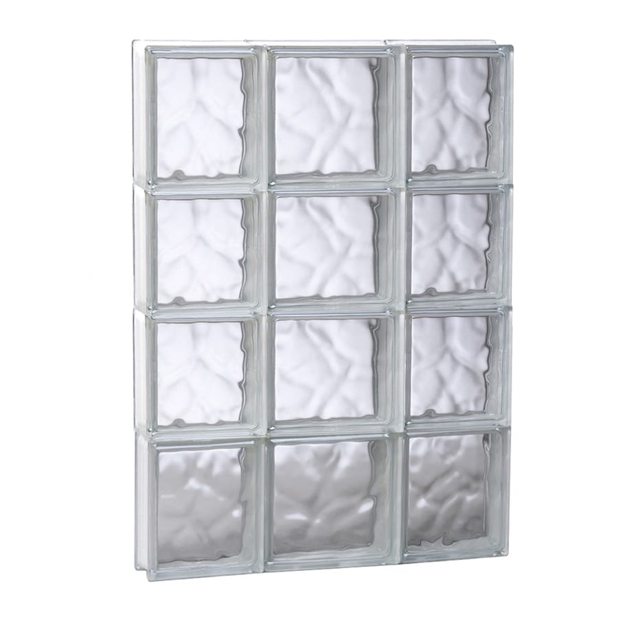 REDI2SET Wavy Glass Frameless Replacement Glass Block Window (Rough Opening: 19.75-in x 31.5-in; Actual: 19.25-in x 31-in)