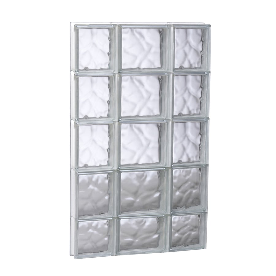 REDI2SET Wavy Glass Pattern Frameless Replacement Glass Block Window (Rough Opening: 19.75-in x 37.25-in; Actual: 19.25-in x 36.75-in)