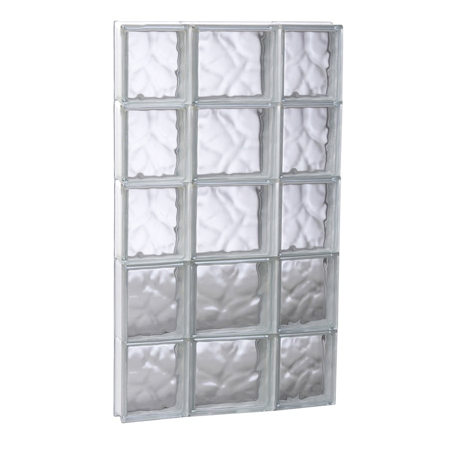 REDI2SET Wavy Glass Pattern Frameless Replacement Glass Block Window (Rough Opening: 19.7500-in x 39.2500-in; Actual: 19.2500-in x 38.7500-in)
