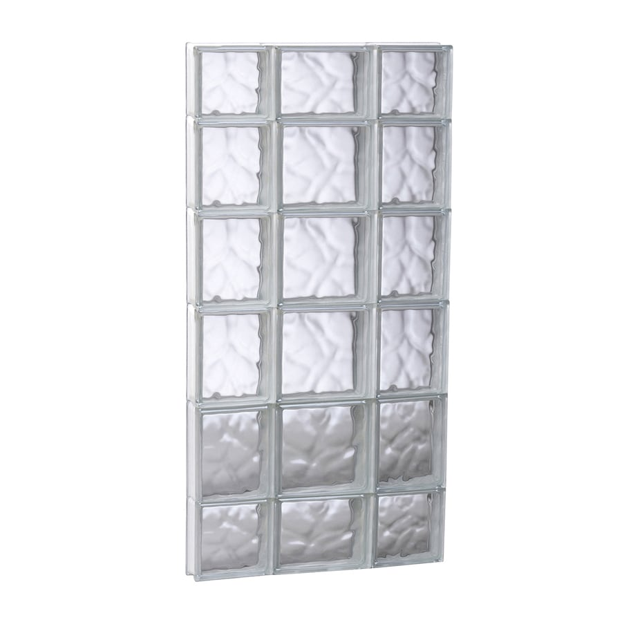 REDI2SET Wavy Pattern Frameless Replacement Glass Block Window (Rough Opening: 19.75-in x 43-in; Actual: 19.25-in x 42.5-in)