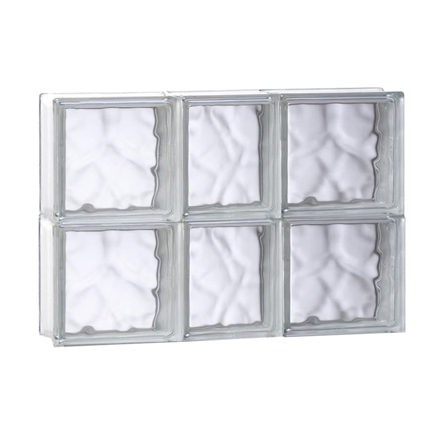 REDI2SET Wavy Glass Pattern Frameless Replacement Glass Block Window (Rough Opening: 21.75-in x 16-in; Actual: 21.25-in x 15.5-in)