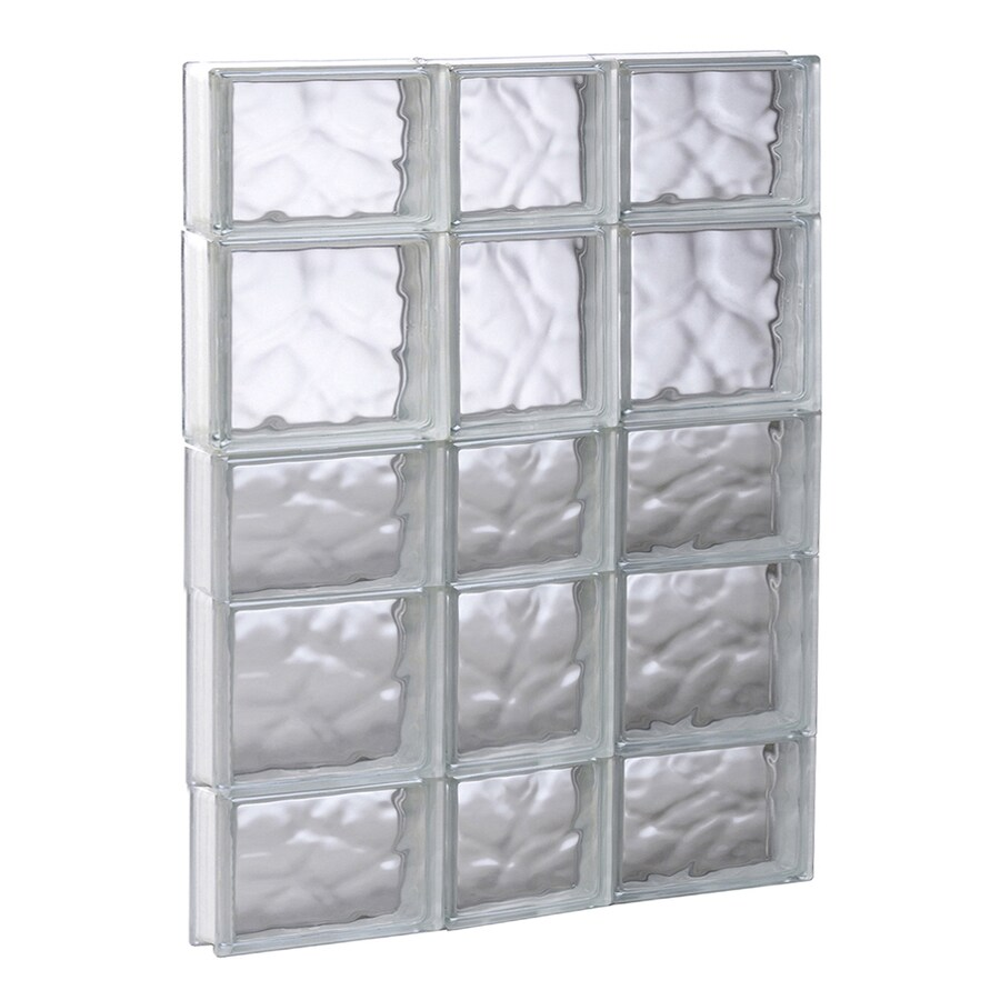 REDI2SET Wavy Glass Pattern Frameless Replacement Glass Block Window (Rough Opening: 21.75-in x 33.25-in; Actual: 21.25-in x 32.75-in)