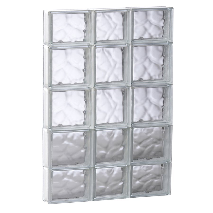 REDI2SET Wavy Glass Pattern Frameless Replacement Glass Block Window (Rough Opening: 21.75-in x 35.25-in; Actual: 21.25-in x 34.75-in)