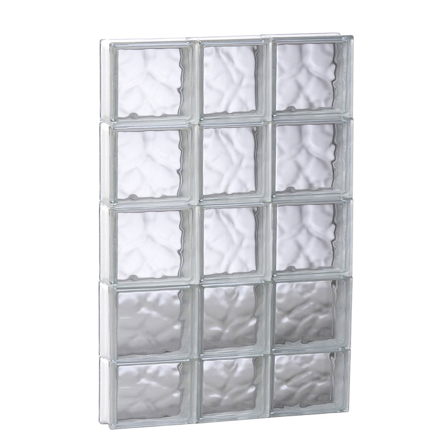 REDI2SET Wavy Glass Pattern Frameless Replacement Glass Block Window (Rough Opening: 21.75-in x 37.25-in; Actual: 21.25-in x 36.75-in)