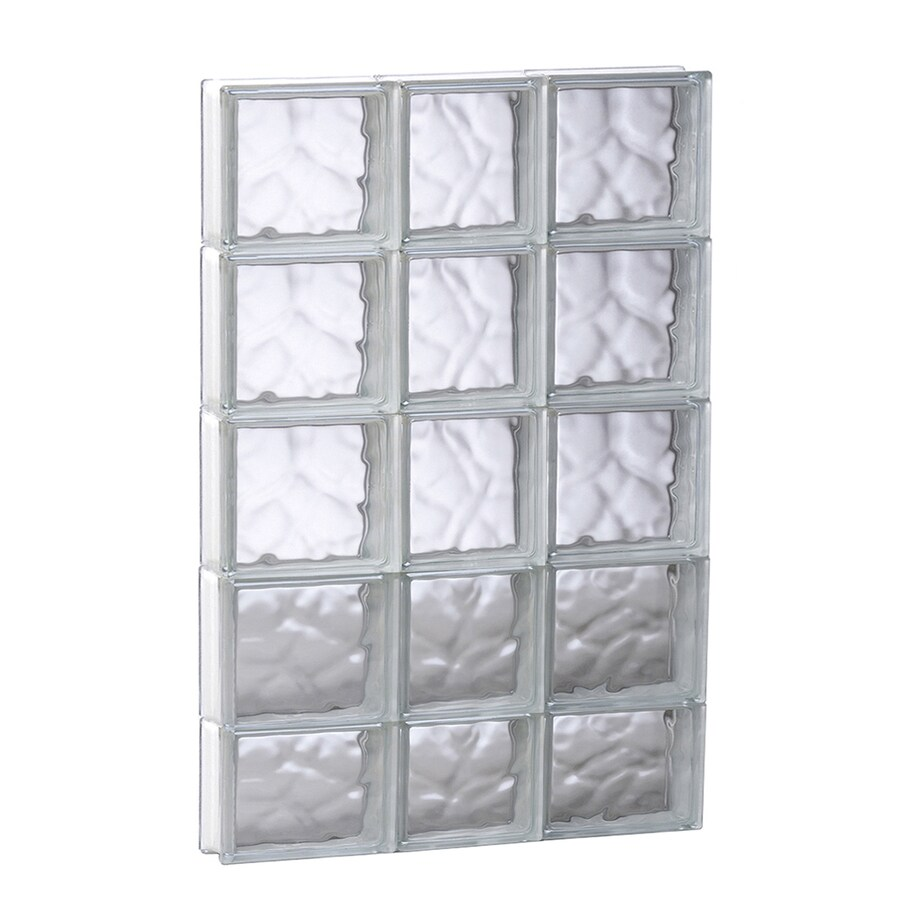 REDI2SET Wavy Pattern Frameless Replacement Glass Block Window (Rough Opening: 21.75-in x 37.25-in; Actual: 21.25-in x 36.75-in)