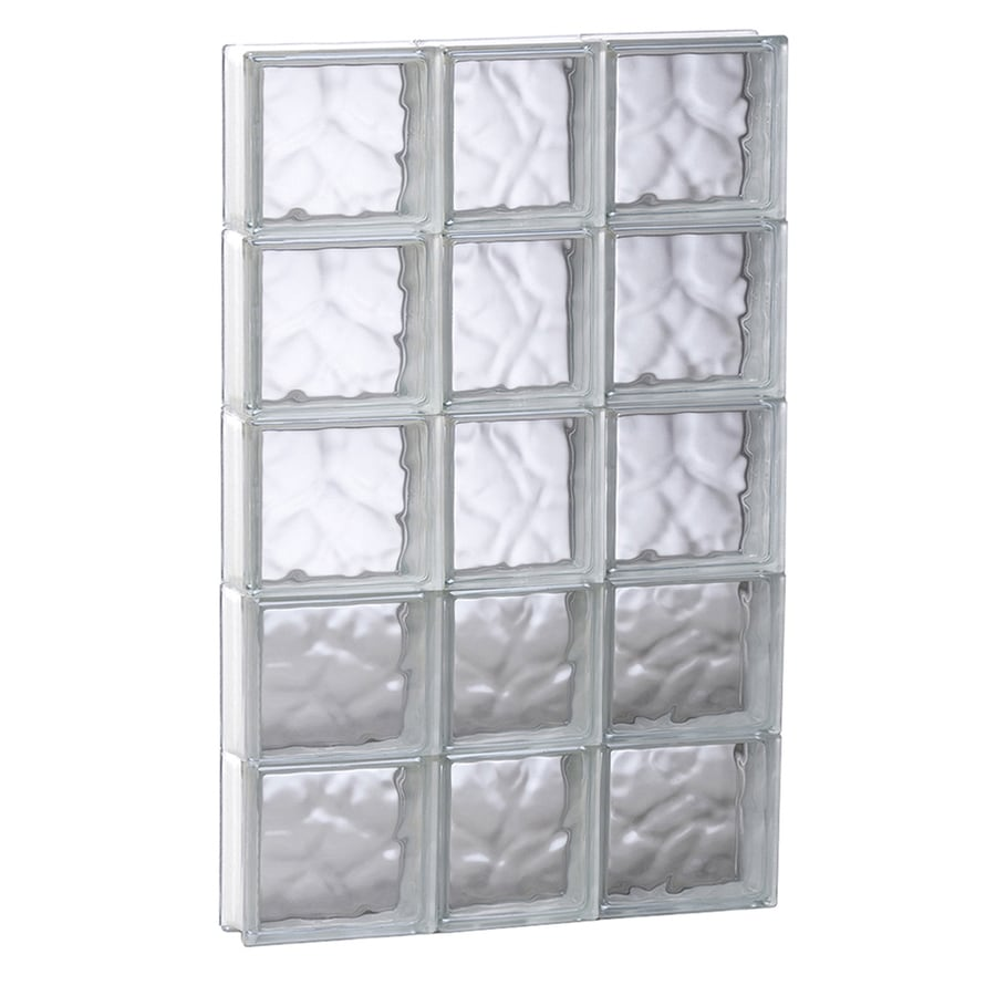 REDI2SET Wavy Glass Pattern Frameless Replacement Glass Block Window (Rough Opening: 21.75-in x 39.25-in; Actual: 21.25-in x 38.75-in)