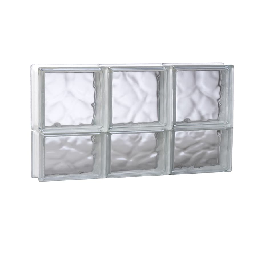 REDI2SET Wavy Pattern Frameless Replacement Glass Block Window (Rough Opening: 23.75-in x 14-in; Actual: 23.25-in x 13.5-in)